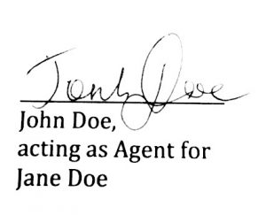 power of attorney preprinted signature