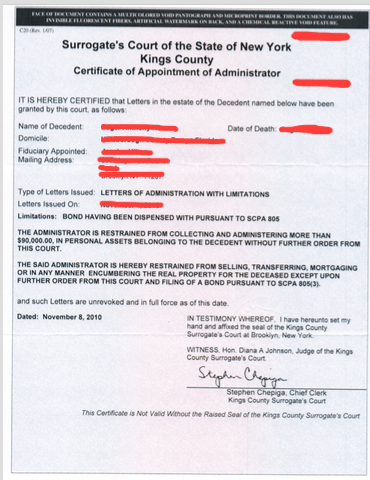 new york certificate of appointment of estate administrator