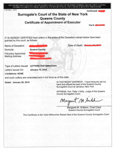 New York Certificate of Appointment of Executor