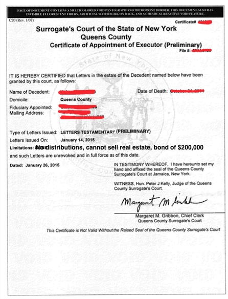New York Certificate of Appointment of Preliminary Executor